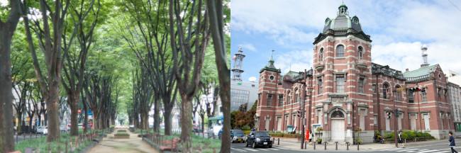 (左)戦後まもなく植樹された仙台・定禅寺通りのケヤキ並木(右)盛岡のランドマーク的存在、旧盛岡銀行本店は明治の名建築