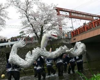 地域の伝統行事「飯山白龍」が小鮎川で舞う