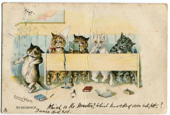 『吾輩は猫である』では、苦沙弥先生のもとに「舶来の猫が四五疋ずらりと行列してペンを握ったり書物を開いたり勉強をしている。その内の一疋は席を離れて机の角で西洋の猫じゃ猫じゃを躍っている」絵はがきが届く。そのもととなったのがこの絵はがき。絵は当時猫のイラストレーションで著名だったルイス・ウェインによるもの。1903年12月、ラファエル&タック社発行