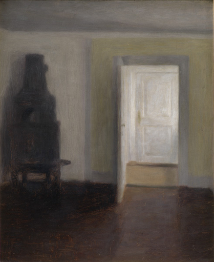 Vilhelm Hammershoei (1864-1916), Interioer. Den gamle bilaeggerovn. Albertines Lyst, Lyngby, 1888