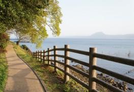 城下海岸遊歩道と別府湾、高崎山