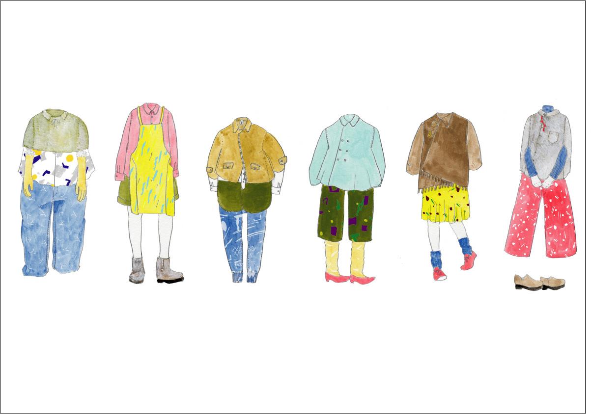 ファッションデザインコースだった大学生時代に描いたデザイン画。
