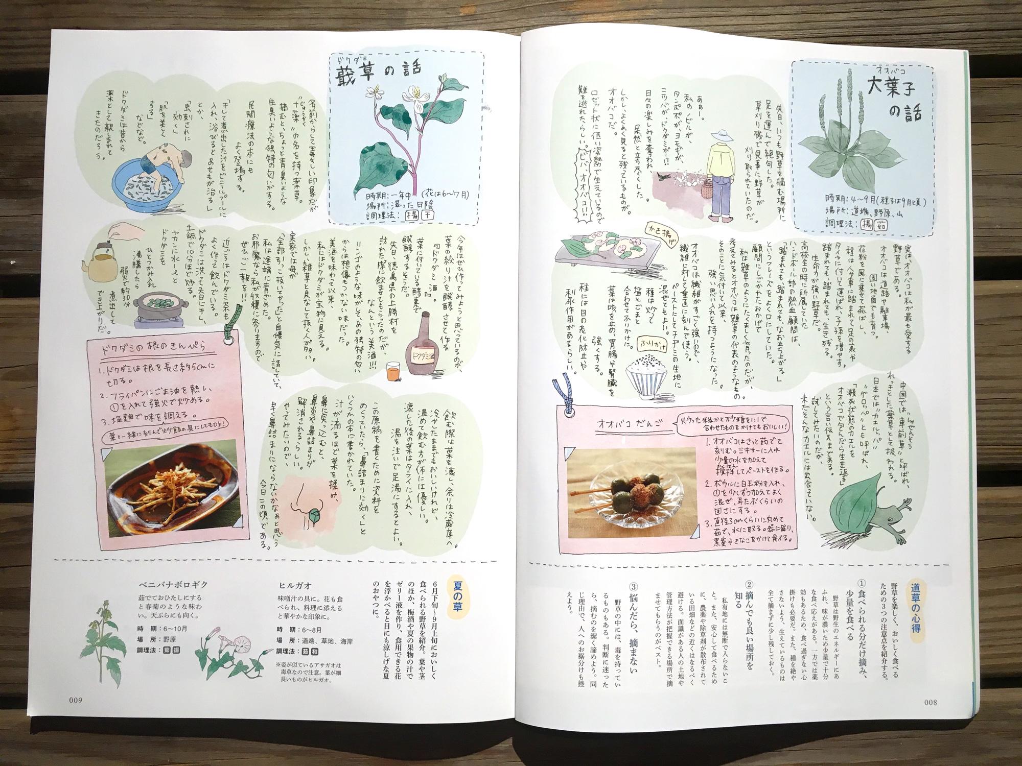 熊本が拠点の雑誌『九州の食卓』では、ページのデザインやイラストを手掛ける。