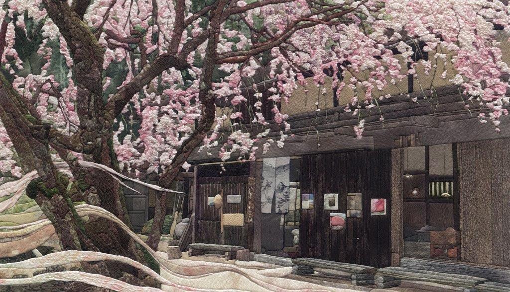 《峠の立場茶屋と枝垂桜》(中山道・馬籠峠)2012年