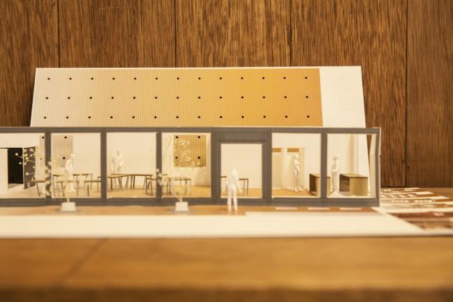 利府町の公共施設の完成模型。利用人数40名ほどを予定している