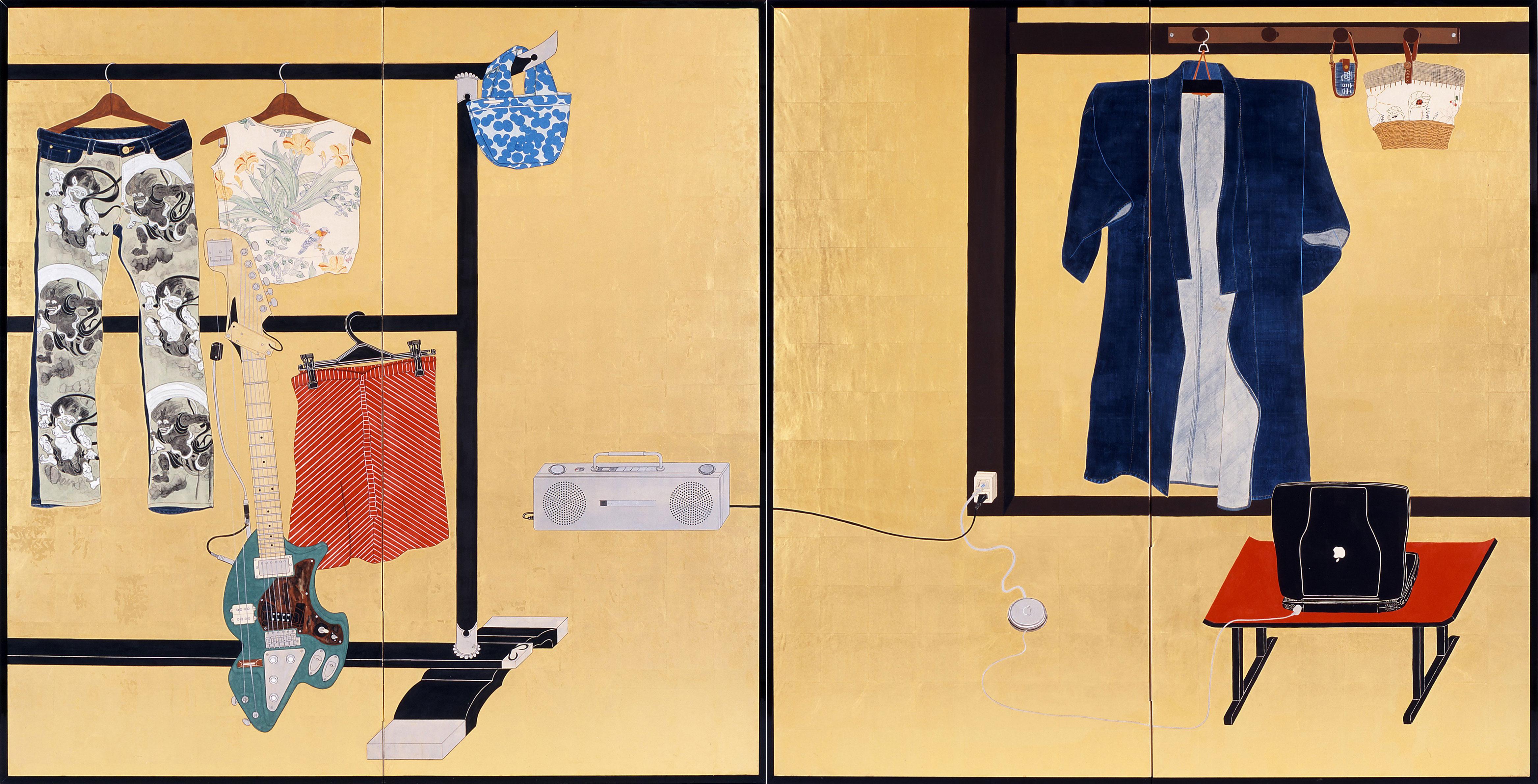「誰ヶ裾屏風」 2005年制作 二曲一双 各(169×165.6cm) 紙本金地着色 ©️Taro Yamamoto , courtesy of imura art gallery