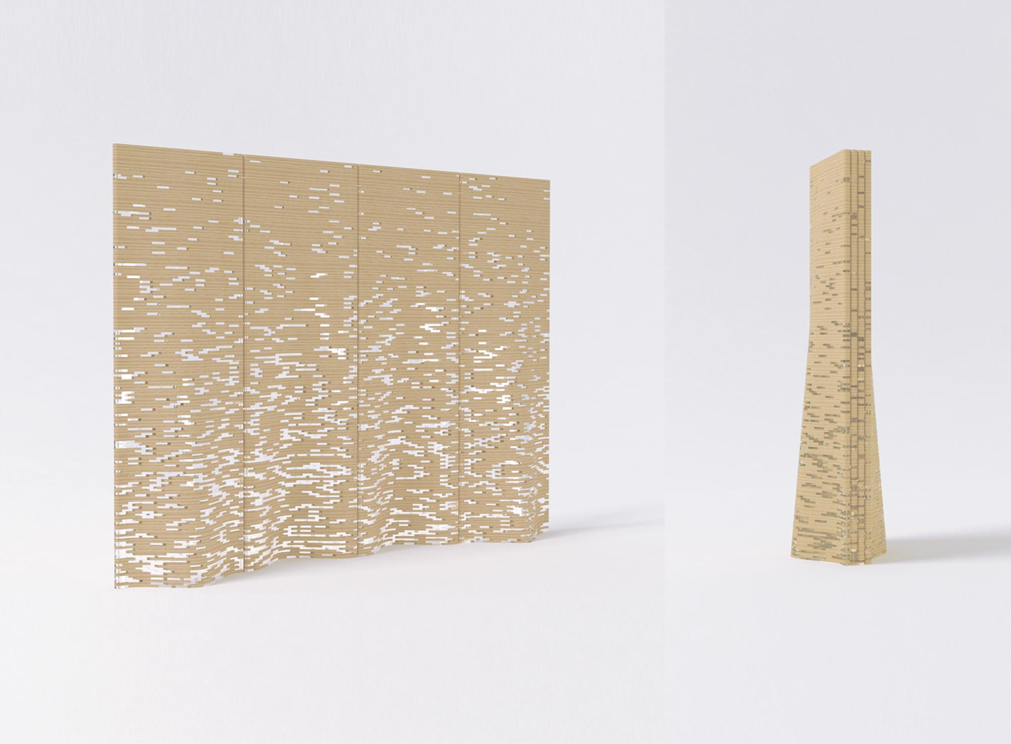 和室・洋室ともに似合うようデザインされた屏風の「風花屏風」。広げていない時でも、彫刻のように楽しむことができる。透け具合の作成・検討にコンピューターの力を存分に使った作品。