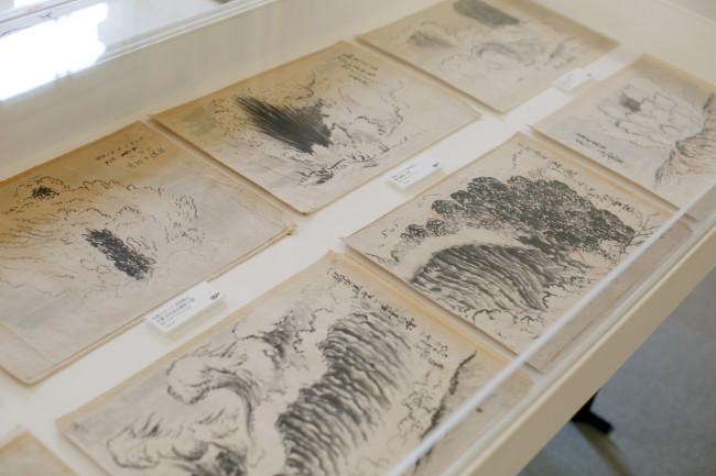 同じく「北海道の三至宝」、三松正夫の昭和新山の火山画。フィルムなどの希少な戦時中だから絵で描いたというだけでなく、これが「日本画」というスタイルをとっていることにも圧倒される