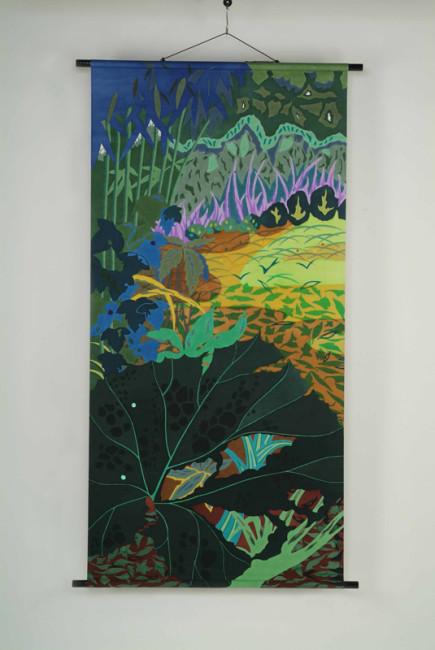絹・タペストリー《緑のざわめき》90x180cm