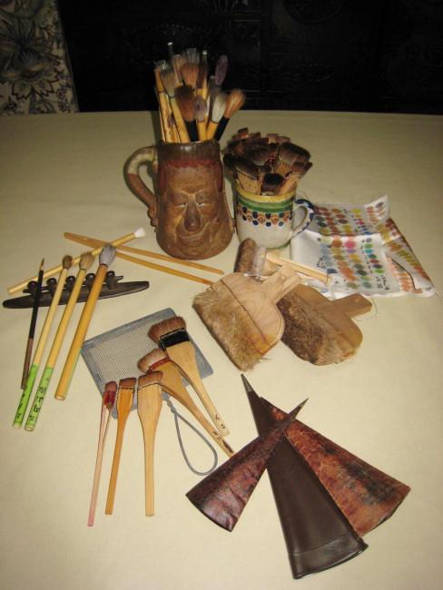 手描き友禅に使用する道具の数々