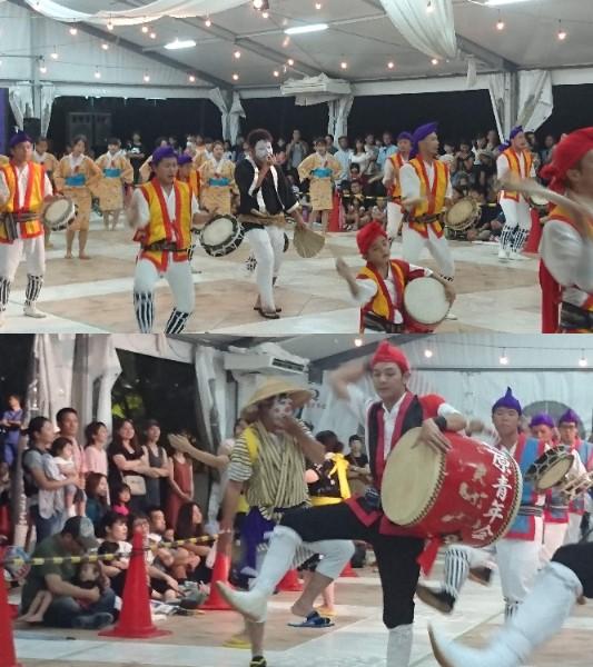 沖縄市のエイサーに登場するチョンダラー 上段:越来青年会のチョンダラー 下段:池原青年会のチョンダラー