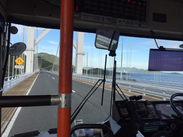 因島大橋を走るバスの車窓から