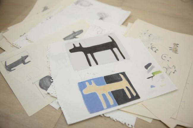 代表作「HOUSE doggy mat」の初期の考案スケッチ