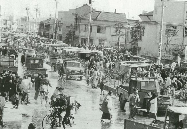 昭和30年代の日曜市。場所は現在と同じ追手筋