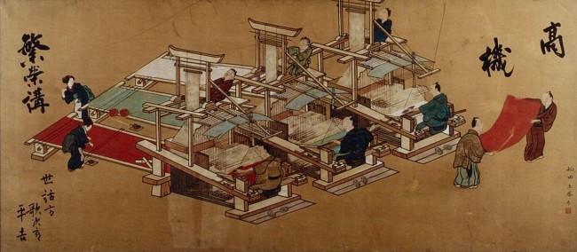 平安時代から明治初期まで西陣で使われた「高機の図」。一人が上にのり、経糸(たていと)を引き上げながら織る二人がかりの織機だった(所蔵:一般財団法人西陣織物館)