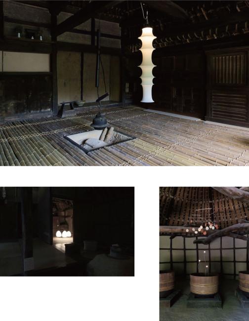 (上)愛媛県の民家を移築した「旧河野家住宅」。竹敷きの床とブルーノ・ムナーリの竹をイメージした照明「FALKLAND」が調和する / (左下)「旧山下家住宅」は江戸時代の東讃岐では典型的な造りだった。農作業用の土間にイサム・ノグチの灯りを置いた。ノグチは20年もの間、香川県の牟礼町にアトリエと住居を構えてニューヨークと行き来した / (右下)「砂糖しめ小屋」に吊るされた杉山知子のモビール。木の梁や屋根組み、木桶に無理なくなじむ。藤本がIKEAで入手した照明も絶妙だ