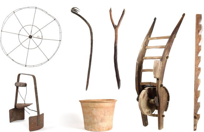 (左上から)糸車、鰻掻、豆タタキ、ネコ車、蚕棚 (左下2点)レンタンツマミ、ヒヤシガメ。同じ道具でも、使うひとによってかたちが違ってくる。使いやすいようにカスタムしたり、あるいは使い続けたクセが出てきたものもあるだろう