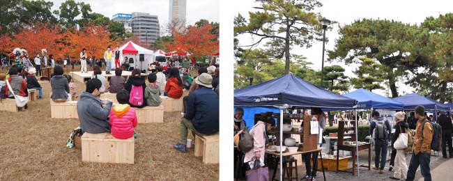 (2点とも)メイン会場の玉藻公園。日本三大水城のひとつで、公園内には歴代の讃岐藩主が暮らしてきた披雲閣(大正の再建)が。クラフトのお店のほか、食や音楽を楽しめるマルシェも開かれた