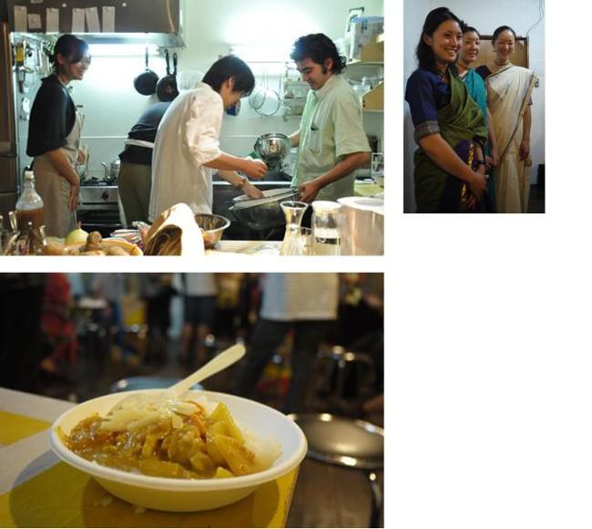 カレー好きのワーキンググループ・メンバーが企画した、カレーを通した被災地支援の取り組み「カレー支援の夜」。東京スパイス番長メタ・バラッツ氏による女川カレー試食会&チャリティチャパティ / 2011年9月16日