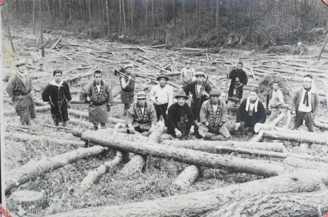 同じく1940年代のものと思われる村の森林での伐採風景(写真提供:大茅自治会)