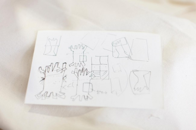 「nusumigui」のワークショップ参加者による「切り株のカバン」のためのイメージスケッチ