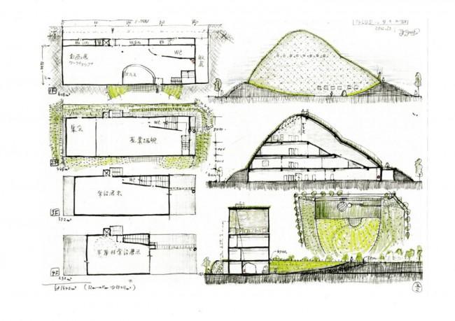 藤森氏による多治見市モザイクタイルミュージアムのスケッチ。採土場をモチーフにした土でできた壁にモザイクタイルが散りばめられている。2階から4階へつづく斜面上の大階段は一番の見どころ(2点とも、多治見市モザイクタイルミュージアム提供 ©2012 Terunobu Fujimori)