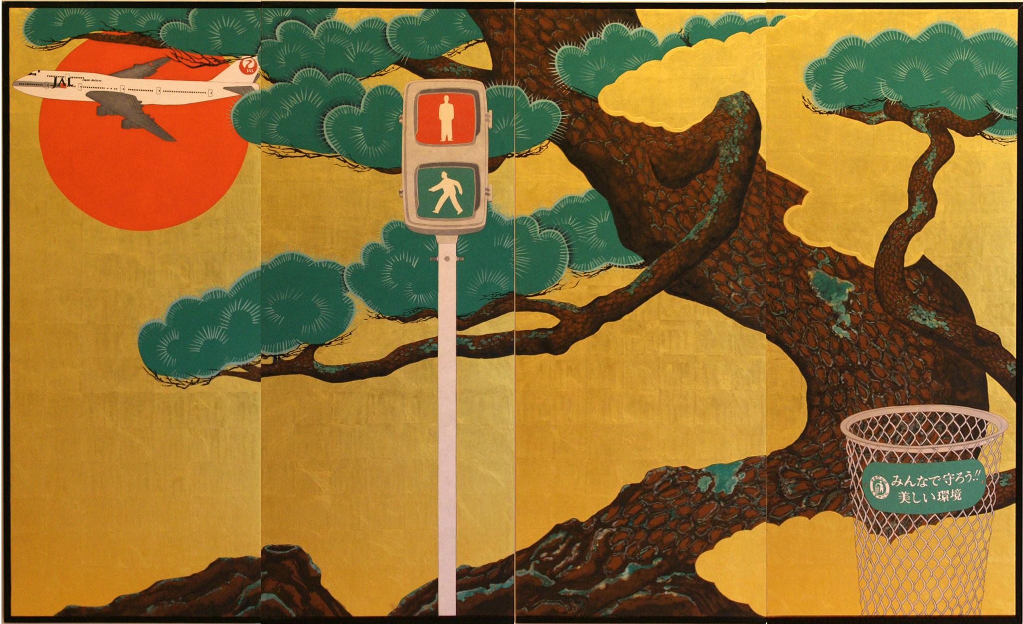 「松樹鉄鶴図」 2001年制作 183×296cm 紙本金地着色 ©️Taro Yamamoto , courtesy of imura art gallery