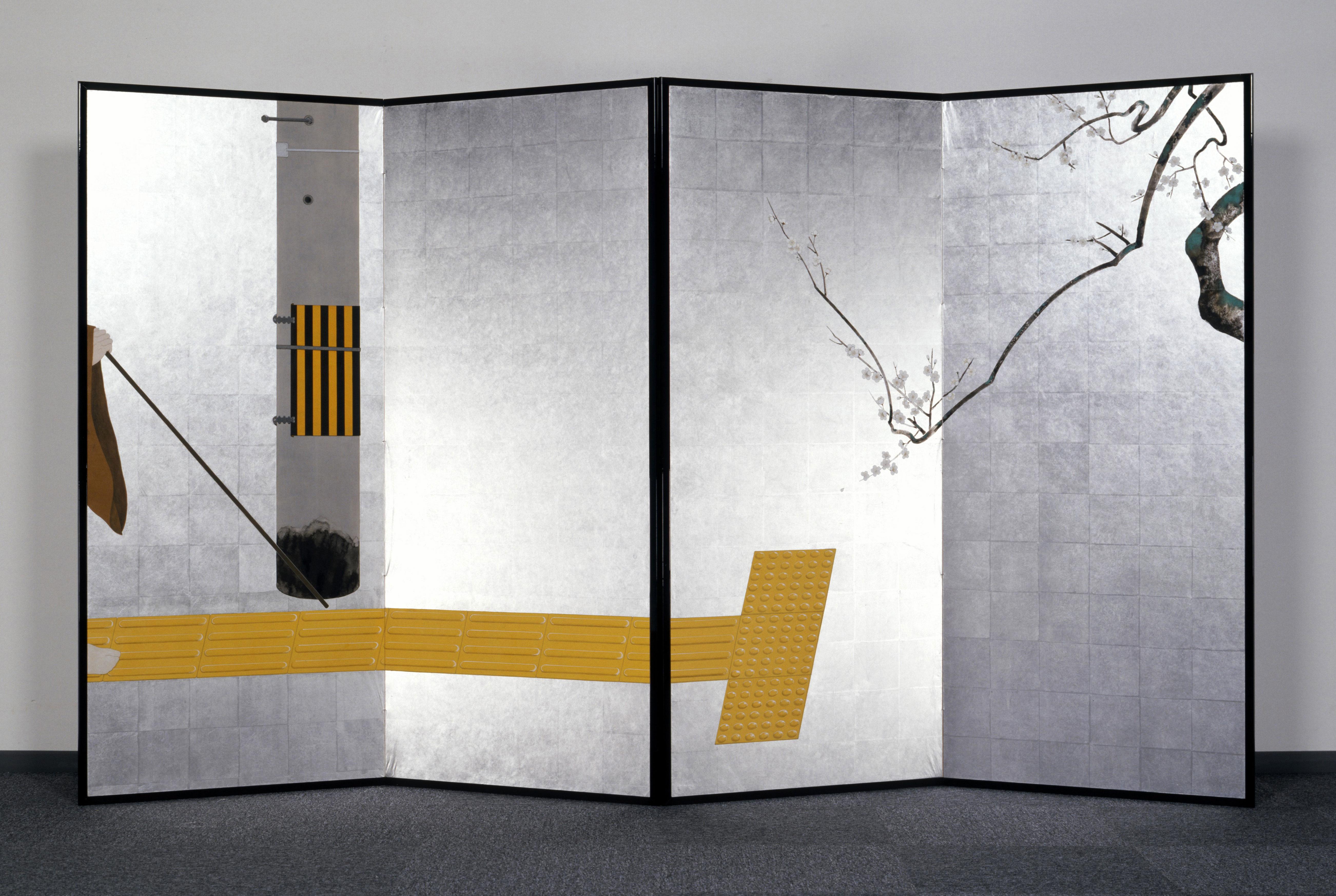 「白梅点字ブロック図屏風」 2006年 二曲一双 各166.7×145.6cm  紙本銀地着色 (VOCA2007 VOCA賞受賞作品) ©️Taro Yamamoto , courtesy of imura art gallery