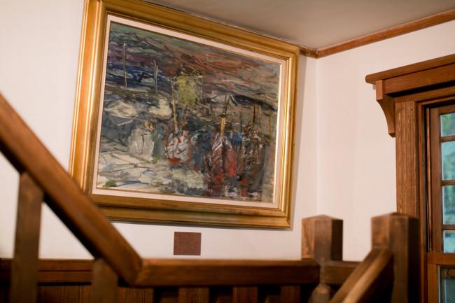 札幌芸術の森には有島武郎旧邸が移築されており、記念館になっている。2階で鈴木昭男の資料展示があったのだが、そこへ向かう階段の踊り場に、木田金次郎の絵が。昨日見なければ、立ち止まることはなかっただろう