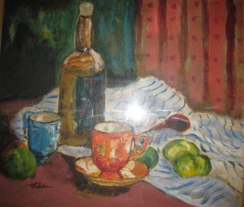 椎原さんが中学生時代に描いた油彩画