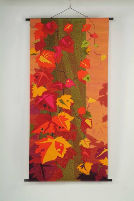 絹・タペストリー《赤いひびき》90x180cm