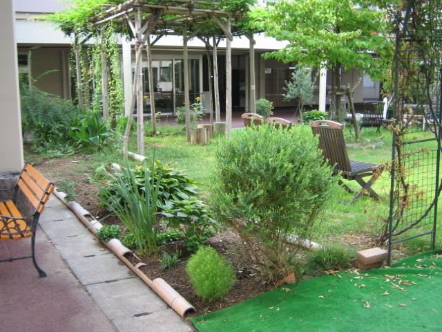 何もなかった庭に、多くの植物が植えられた。もらってきた竹で作った花壇枠