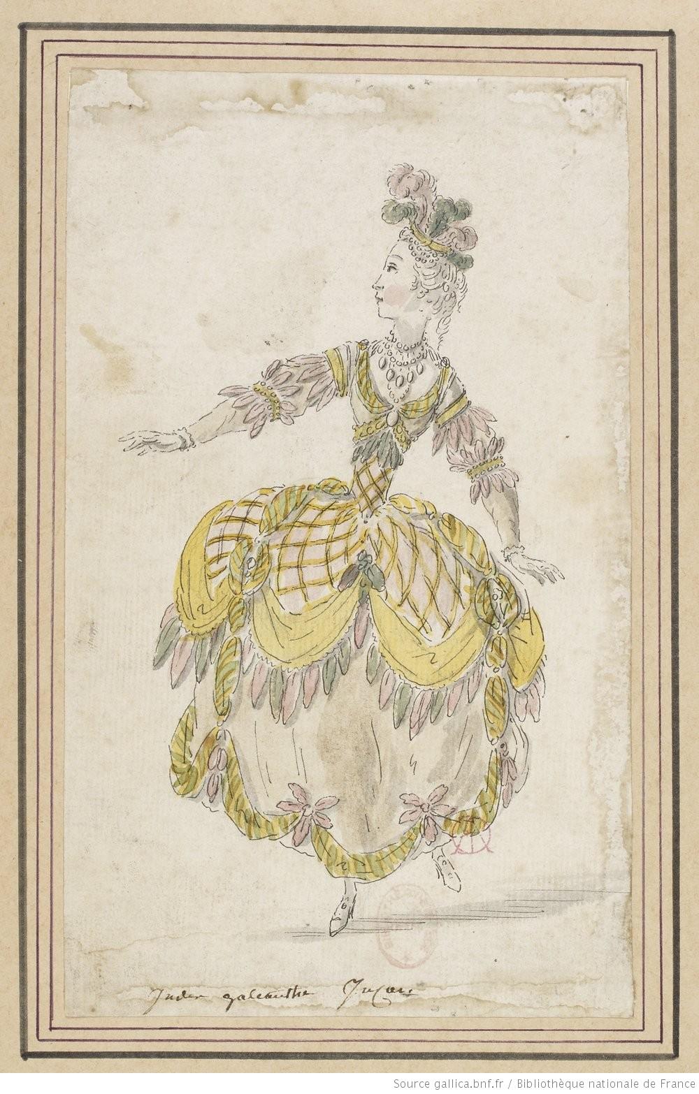Louis-René Boquet, maquette de costume pour les Indes Galantes, 1770.  Source gallica.bnf.fr / Bibliothèque nationale de France