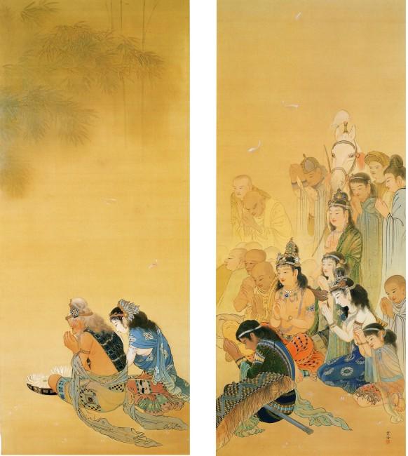 図1 荒井寛方《竹林の聴法》明治44年(1911)、三溪園蔵