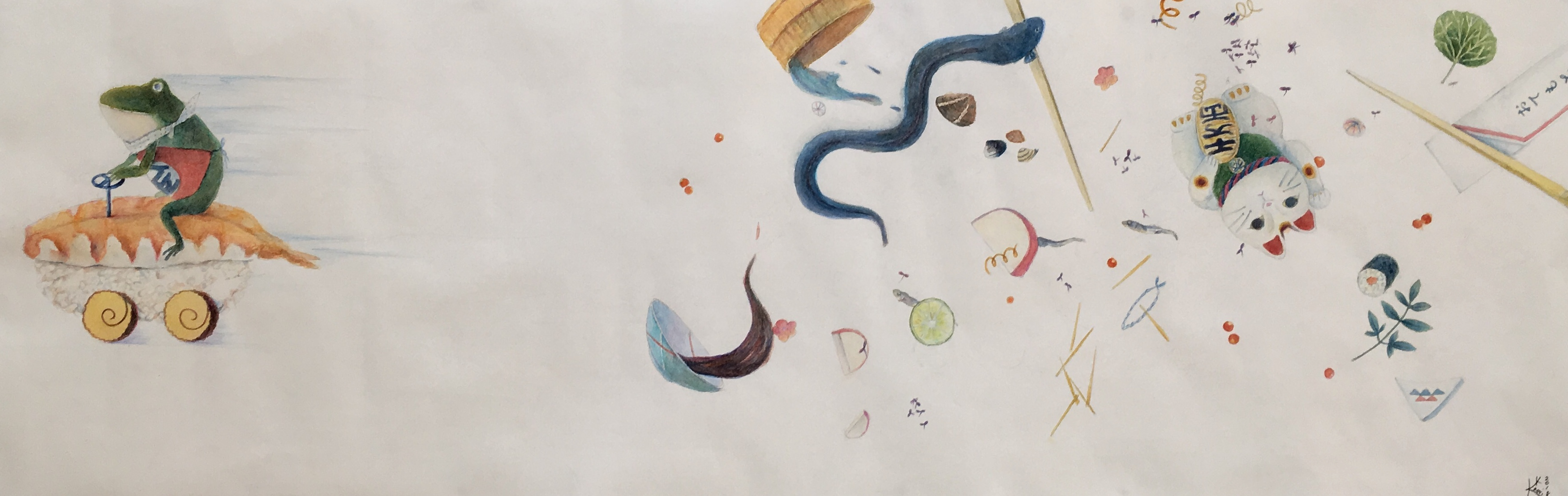 《Cloud Trip I III 》800×450mm, Watercolor, color pencil on paper 2018