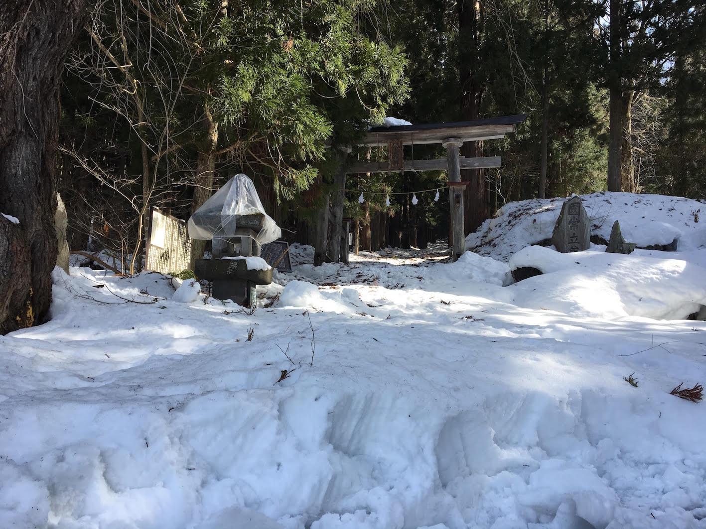 小菅神社里社への参道。途中までは進めました