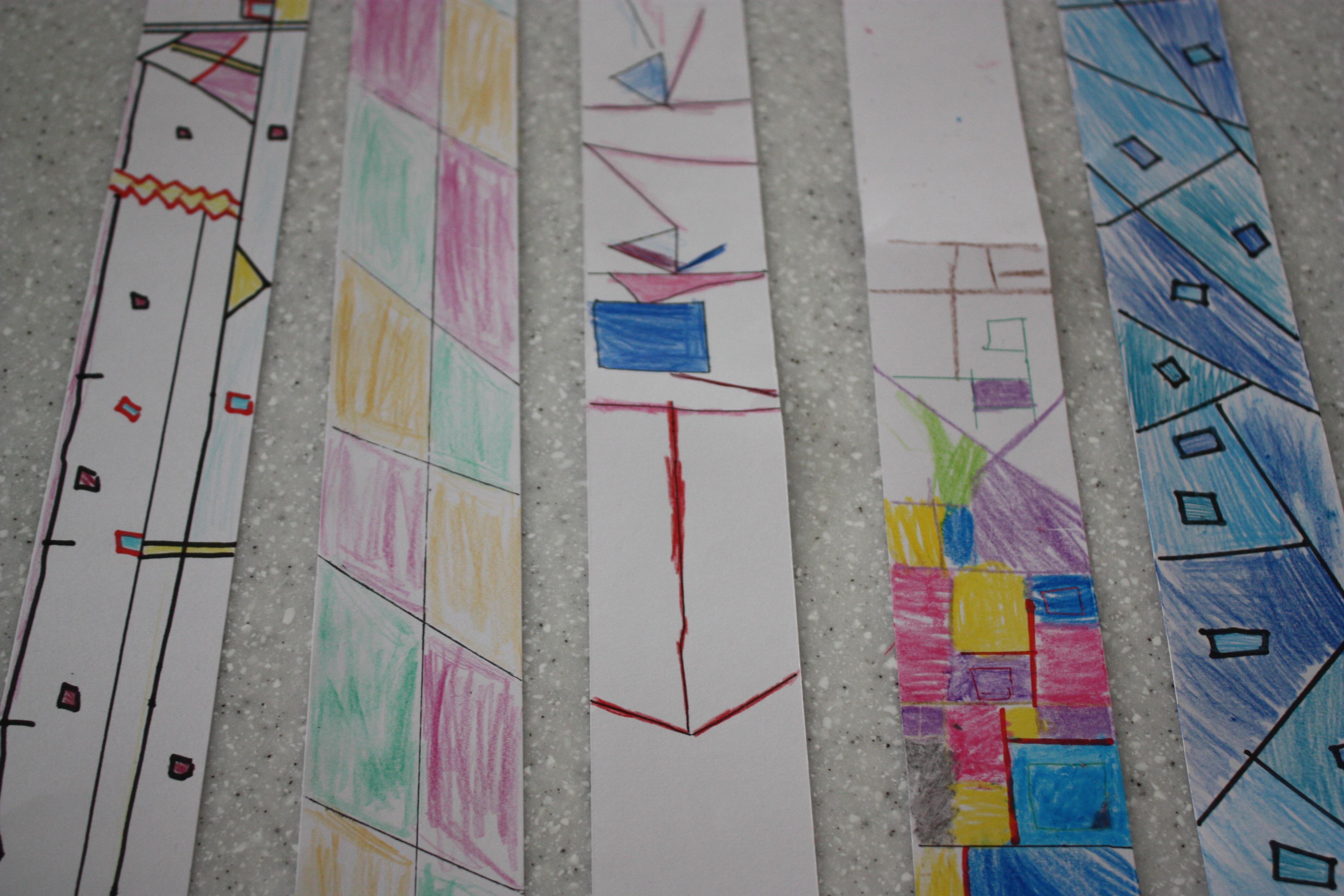 モンドリアンのワークショップにて。プログラミングを使って観察したあとは子どもたちそれぞれがイメージしたものを絵を描き、チョコレートに