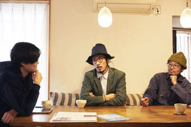 左より瀬藤さん、勝見淳平さん。右は飛び入り参加してくれたルートカルチャー設立メンバーの1人である礒部謙介さん