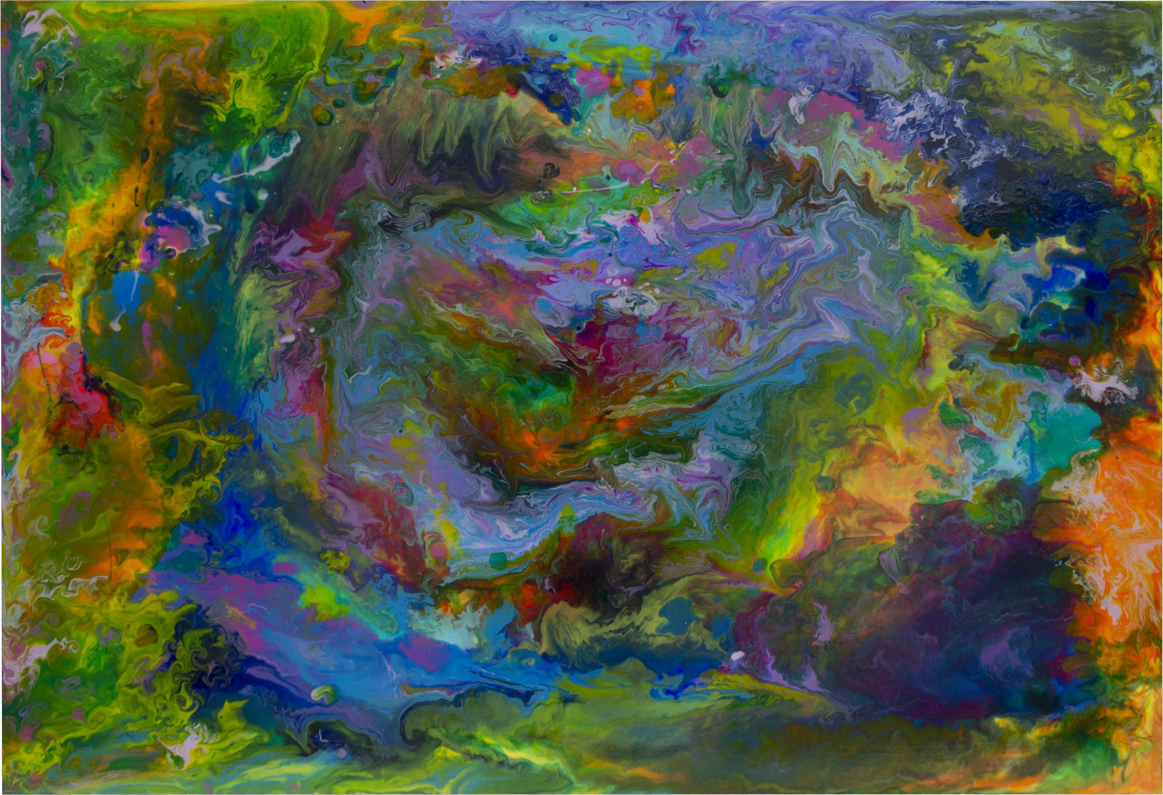 アクリル絵の具とメディウムによる習作。色を混ぜ合わせるとどんなふうに見えるのかを実験した
