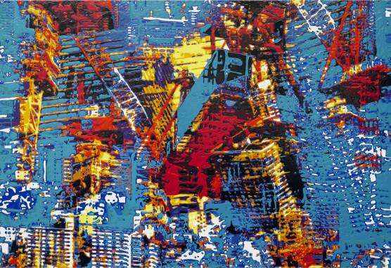 《Drip color Combine -October 25,2018.#1》 2019 H100×W161.6×D4.5cm パネル、塩化ビニール / アクリル絵具、注射器 (2019  近藤大祐 個展 -CHRYSALIS- 出展作品) (C) 2019 TAISUKE KONDOUH Courtesy of GALLERY TOMO