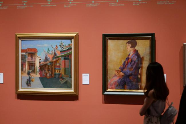 日本時代の東京美術学校(現在の東京芸大)に留学し、台湾人として初めて帝展に入選、戦後は228事件で銃殺された台湾を代表する近代油絵画家・陳澄波の作品。陳の作品は梅原龍三郎や藤島武二ら日本の画家の影響をうけながらも、植民地下における台湾の伝統的な風景と近代化していく風景との対比が描かれる