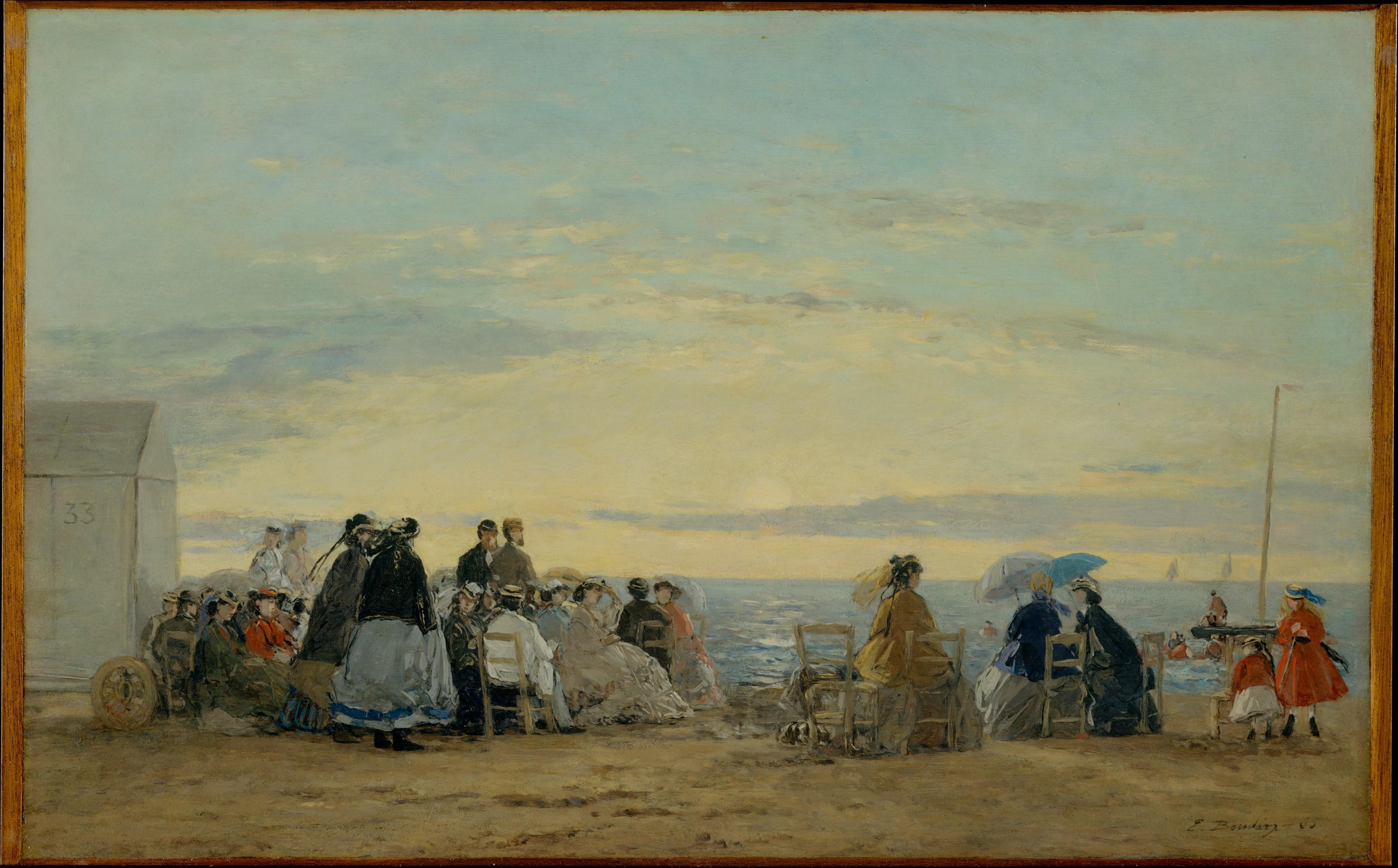 ウージェーヌ・ブーダン《夕暮れの浜辺》1865年(米、メトロポリタン美術館)