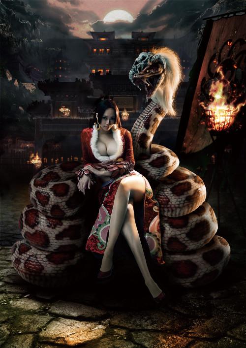 ©尾田栄一郎(集英社) / ANIMAREAL 1作目となった『ドラゴンボール』の亀仙人(上)と、2作目である『ワンピース』のボア・ハンコック(下)。「それぞれ辰年と巳年に」と、実際に年賀状にもなったそう