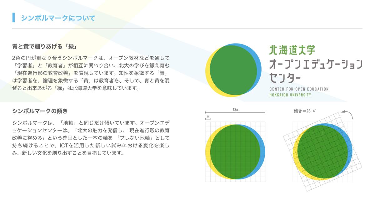 教材開発のほか、OECのブランディングデザインに携わっている。「青(学習者)と黄(教育者)で創りあげる緑(北海道大学)」をコンセプトに、各種ロゴから広報資料まで、一貫したイメージづくりを心がけている