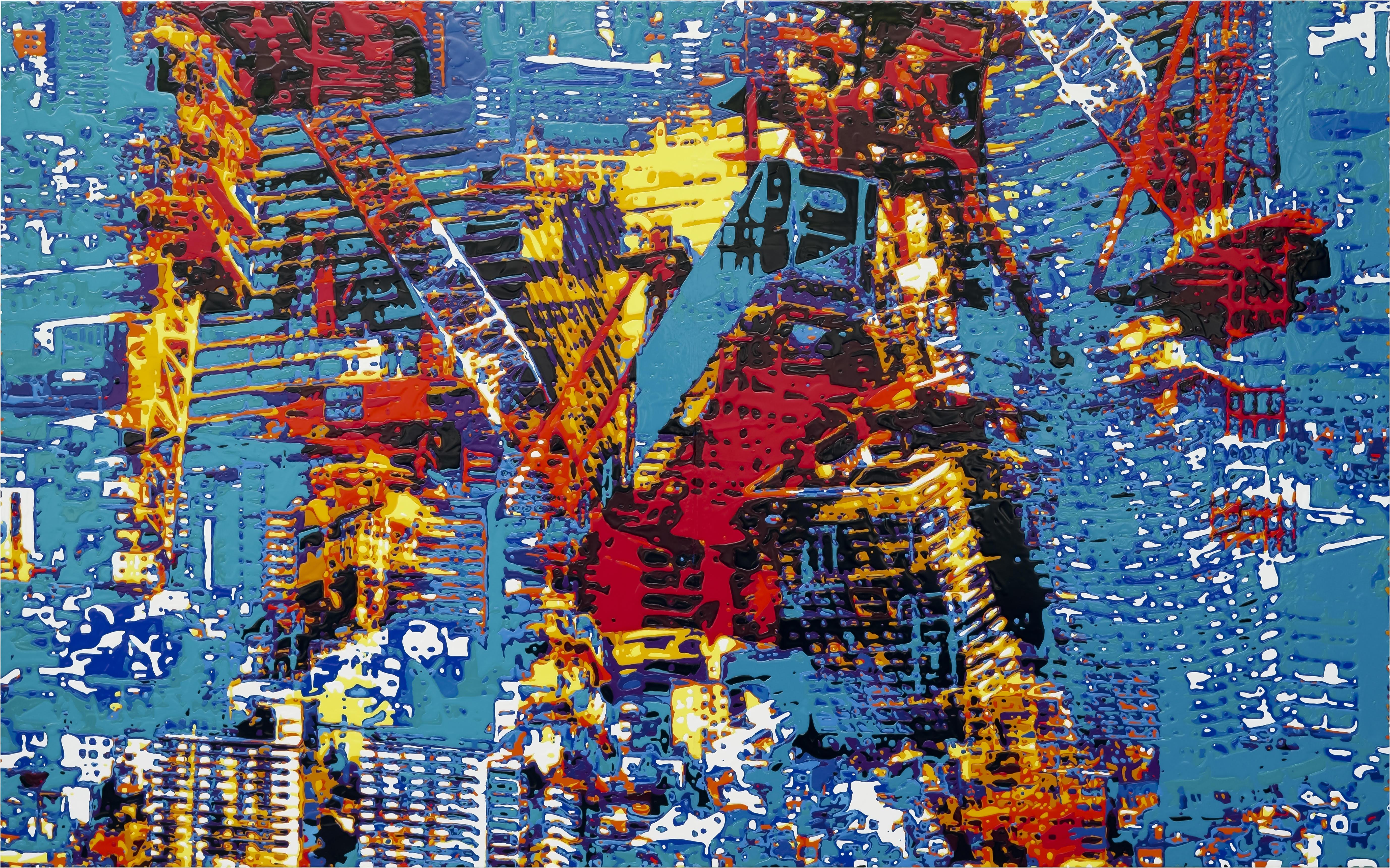《Drip color memory on October 13,2017.》 2018 H193.9×W390.9×D6cm パネル、綿布 / アクリル絵具、注射器 (京都造形芸術大学 大学院 修了制作展 優秀賞受賞作品) (C) 2019 TAISUKE KONDOUH Courtesy of GALLERY TOMO