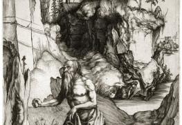 """Albrecht Dürer (1471-1528). """"Saint Jérôme en pénitence, B 61"""". Burin, bois. Musée des Beaux-Arts de la Ville de Paris, Petit Palais."""