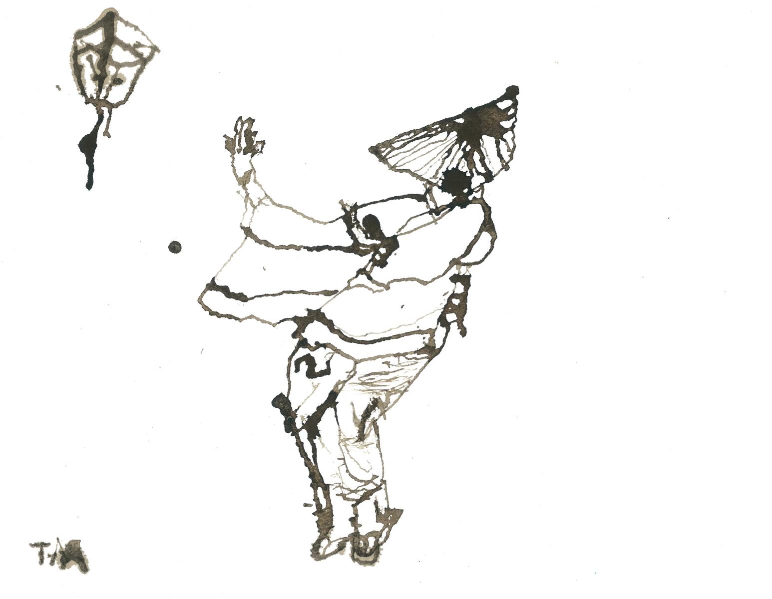 《風の盆》2018 H242 ×W311mm 紙に紅茶インク 中日新聞歌壇俳壇挿画