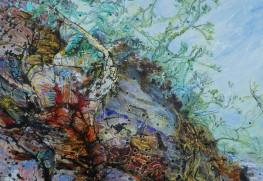 《地球の手紙》2019 H1620×W1303mm 白亜地キャンバスに油彩、紅茶インク、胡粉、顔料、アルキド、箔