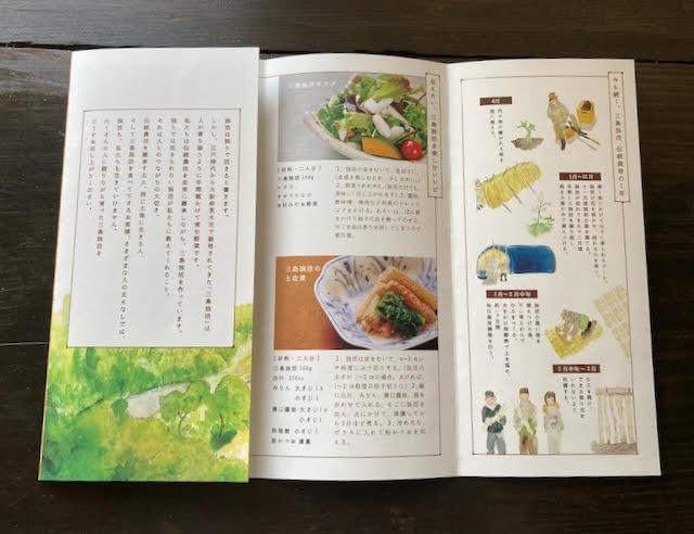 三島独活の栽培方のイラストやレシピが載った千提寺farm.のパンフレット